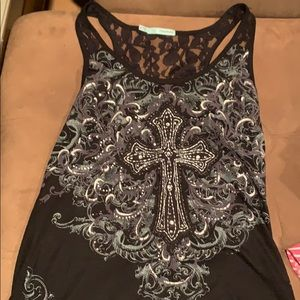 Cross lace and jewel embellished tank